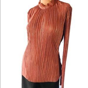 H&M Pleates Blouse Size Medium Pink Satin